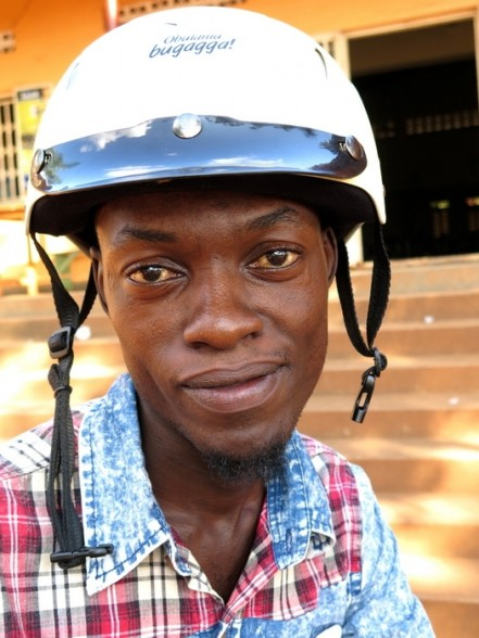 Arnold Semanda, 24, attended a recent safe-driving seminar with the Uganda Helmet Vaccine Initiative. Attendees get a helmet, two meals and a transportation stipend. (Amy Fallon)