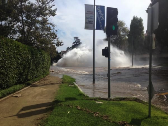 Almost 20 million gallons of water are lost July 29, 2014 when a 93-year old water main ruptures at the University of California in Los Angeles.