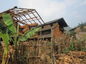 Ruined houses in Katle-Danda, a village in Dhading in the outskirts of the Kathmandu Valley