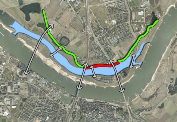 After: The dikes are moved back and a new channel allows more water to flow, reducing flood risk. An island is created in the river, creating room for new development, and new bridges connect residents on both sides of the river. (Room for the River Waal)
