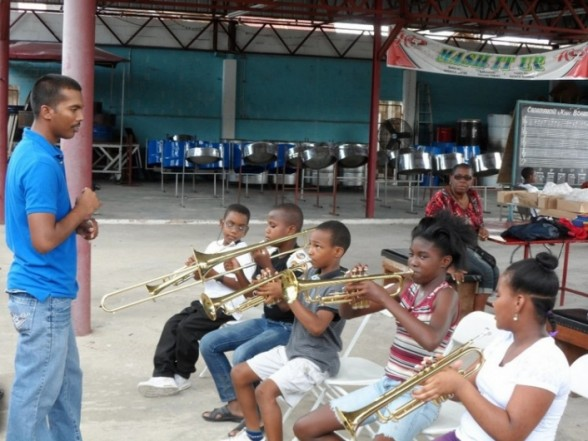 At the Casablanca Steel Orchestra's panyard, students aged 11 to 18 learn a variety of instruments in lessons three times a week. (Casablanca Steel Orchestra)