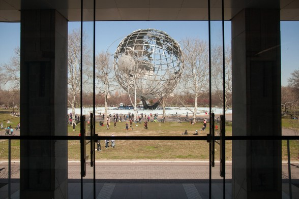 The iconic Unisphere from the 1964–1965 New York World's Fair in Flushing Meadows Corona Park, as seen from the Queens Museum. Photo by William Michael Fredericks. Courtesy of the Design Trust for Public Space