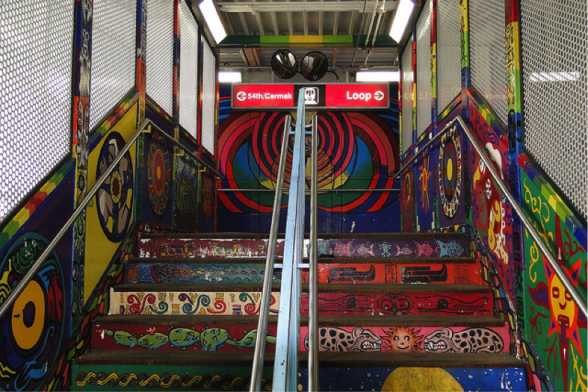 Caption: Street art at the 18th Street 'L' Station on the CTA Pink Line. Credit: Adam Jones