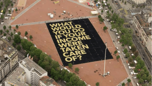 The world's largest poster, crowd-funded by the Swiss basic income campaign.